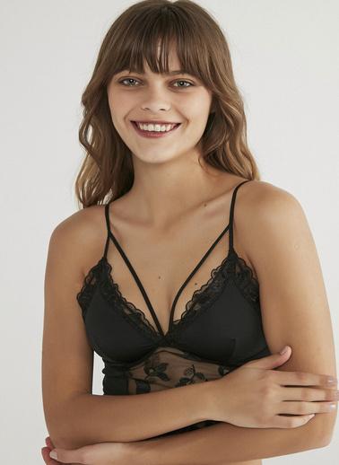 Penti Luna Floral Bralet Siyah